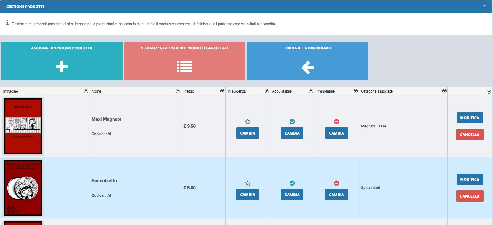 La nostra finestra di gestione prodotti di Velio Il sito personale professionale