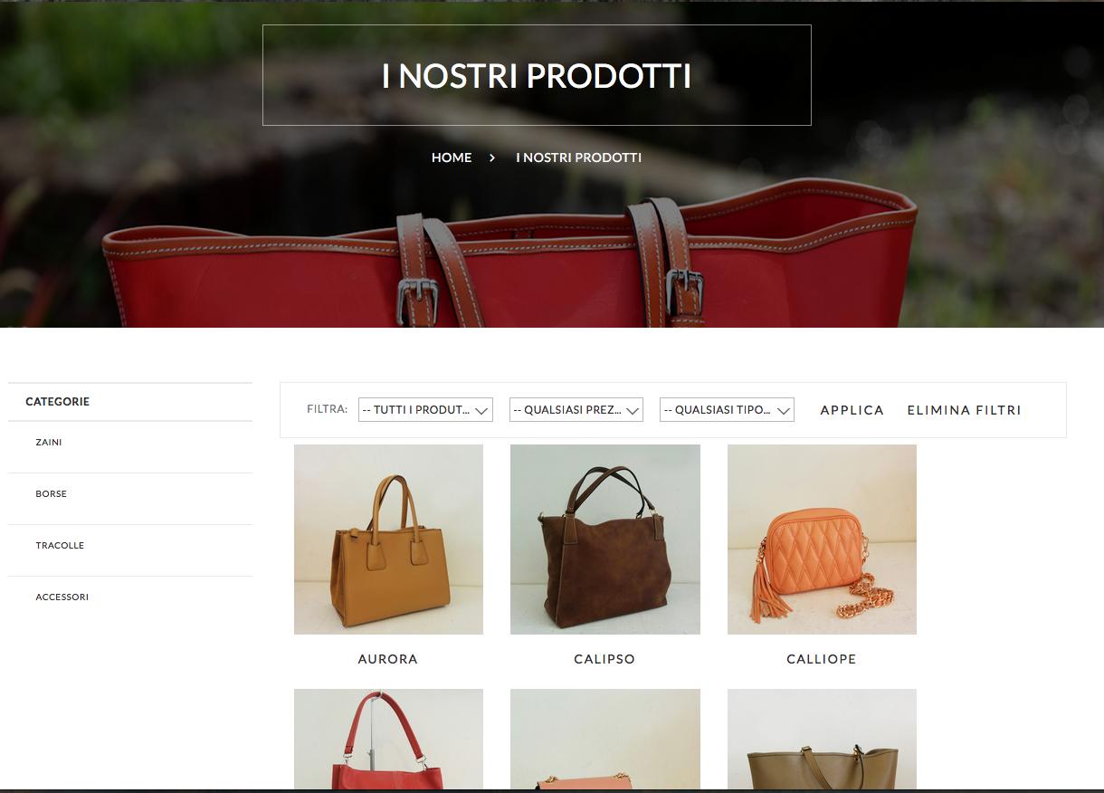 Schermata prodotti on-line Velio Il sito personale professionale